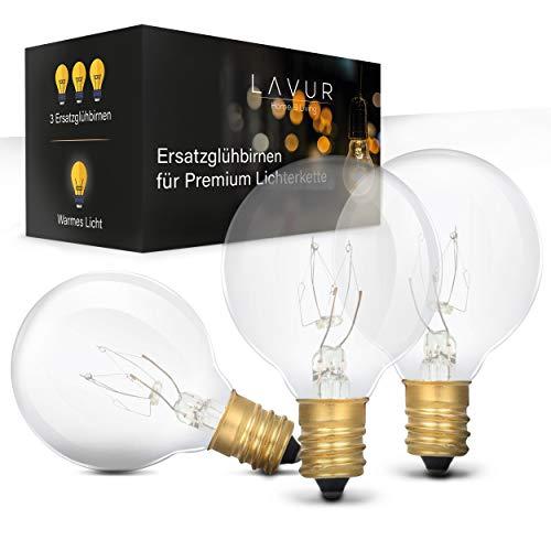 LAVUR Home & Living – Premium Ersatzbirnen – Für Lichterkette – [3x] G40 Lampen – [7W / 2300K / 220-230V / 2000h Lebensdauer] – IP44 wasserdicht – Glühbirne für warmes Licht – [Energieklasse E]