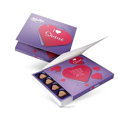 Milka Schokolade personalisiert - Herzförmige Pralinen, Schokoladengeschenke mit Haselnuss-Nougat Cremefüllung, mit Liebe gemacht von YourSurprise (110 GR)