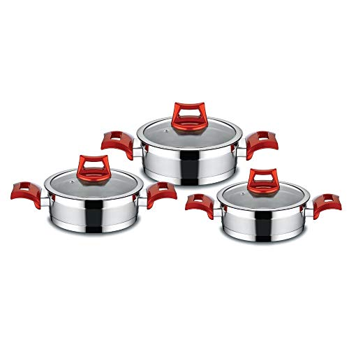MISC Cookware Set 3 Pcs Red Stainless Steel Piece Dishwasher Safe