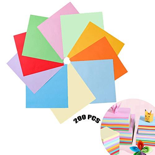 Papel De Origami Artesanal 200 Pcs Vienen Con 1 Barra De Pegamento Colores Papel Plegable Cuadrado Diy Papel Origami De Una Cara De Color Para Origami De Bricolaje Por Niños o Adultos 10 x 10 14 x 14