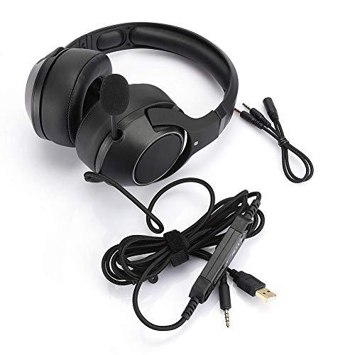 Ymiko Head-Mounted Wire Leuchtender RGB-Gaming-Headset-Kopfhörer mit Rauschunterdrückungsmikrofon für PS4 für Spiel-/Mobil-/Tablet-Geräte(Schwarz)