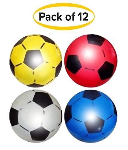 (12Stück) PVC Sports Shoot Fußball 22,5cm oder 21,6cm (unaufgepumpt) Party Bag Filler und Kinder Spielzeug, und ist geeignet für Innen und Außenbereich für Schule, Geburtstag Parteien, Schule Fun Fair, Stalls, um Geld wird in verschiedene Farben. Von sourcediy® - sortiert - 12 Balls