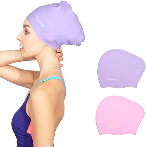 Keary 2 Pack Silicone Swim Cap for Long Hair Women Girls Waterproof Pool Swimming Cap Cover Ears to Keep Your Hair Dry, 3D Ergonomic Stretchable...
