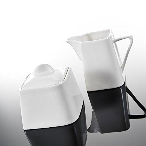 MALACASA, Serie Joesfa, 3-teilig CremeWeiß Porzellan Milch und Zucker Set mit Deckel, Milchk?nnchen Zuckerdose Milch- & Zuckerbeh?lter Küchenhelfer