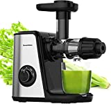 Masticating Juicer Machines, Bonsenkitchen Cold Press Juicer for Fruit & Vegetable, Easy to Clean, BPA Free, Quiet Motor & Reverse Function, High Nutrition Reserve, Juice Extractor for Celery, Kale, Carrot (Black)
