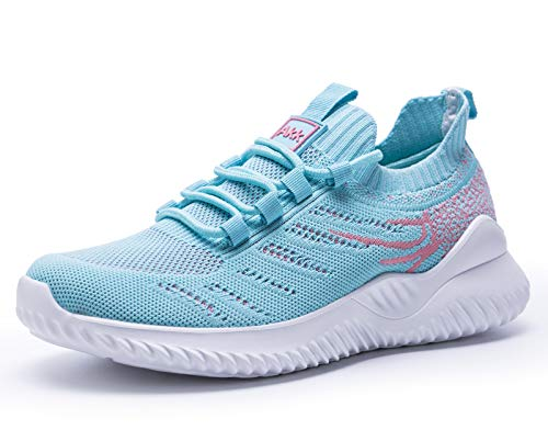 Women Athletic Walking Shoes - Slip On Trainers Running Sneakers Mesh Breathable Fashion Blue 4 UK