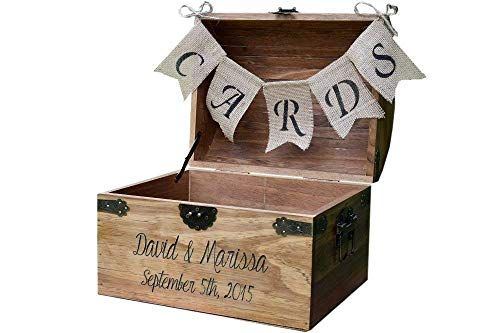 Personalized Wedding Card Chest with Engraved Name and Date and Burlap Cards Banner - Wedding Card Box - Rustic Wooden Card Box - Rustic Wedding Card Box - Rustic Weddings
