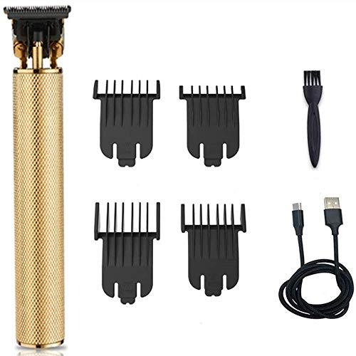 Langhaarschneider Herren, Anself Haarschneidegeräte, USB Wiederaufladbare Digitale Haarschneidemaschine Schnurlose, Rasierhaarschneider für Männer Haarschneiden, T-Klingen-Trimmer für Männer, Golden