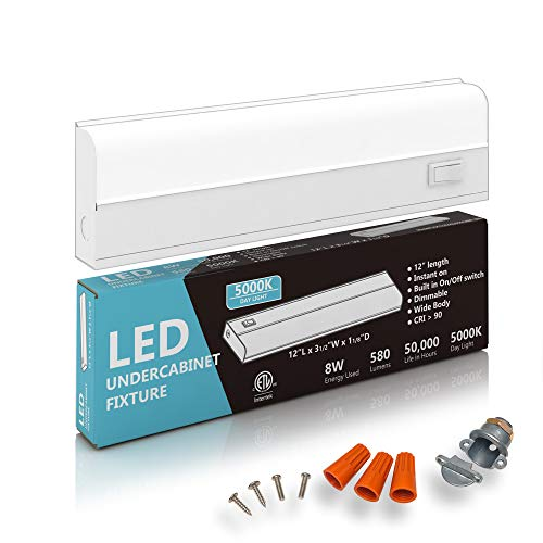 Hardwired LED Under Cabinet Lighting - 8 Watt, 12', Dimmable, CRI90, 5000K (Day Light), Wide Body, Long Lasting Metal Base with Frost Lens