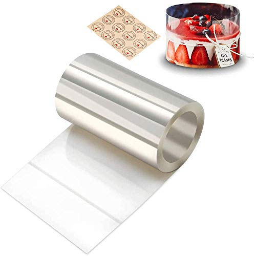 6.3inch x 394inch Acetate Sheets Cake Collars Transparent Cake Strips Clear Mousse Cake Acetate Roll Baking Paper Sheets For Craft Cake Decorating Chocolate Mousse Baking Paper Sheets