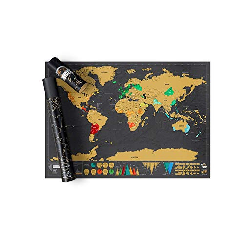 Luckies Scratch off Map World Poster Deluxe Edition, Personalized Scratchable Map of the World