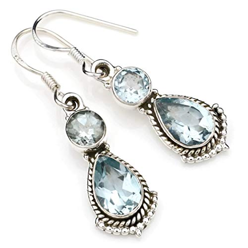 Ohrringe Ohrhänger Silber 925 Sterlingsilber Blau Topas blau Stein (Nr: MOH 115-62)