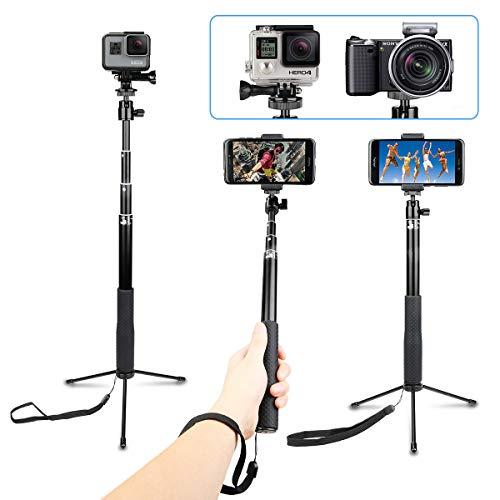AFAITH Impermeabile Selfie Bastone Lega di Alluminio Adjustable treppiede per GoPro Hero7 Black, Hero(2018) 6 5 4 3, Supporto iPhone XS XMAX XR 8 7 Plus, Samsung Galaxy S9 S8 Edge Smartphone - GP077