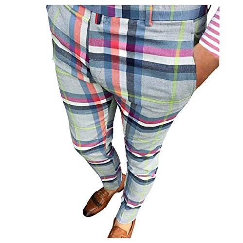 VPASS Pantalones para Hombre, Chándal de Hombres Casual Impresión a Cuadros Pantalones Ocasionales Running Pantalon Jogging Trend Slim Fit Largo Pantalones Deportivos Pants Trekking Hombres