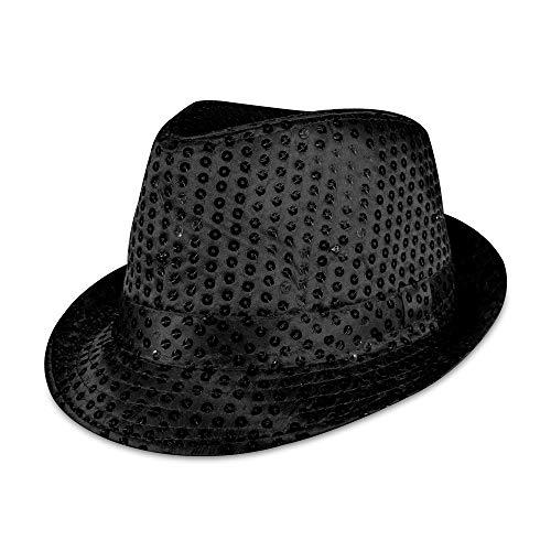 Windy City Novelties LED Light Up Sequin Fedora Party Hat (Black)