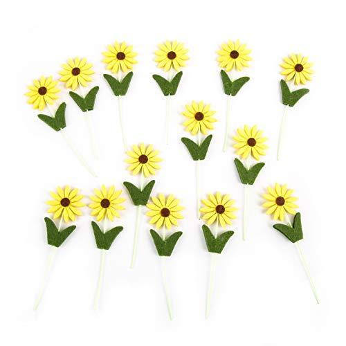 Logbuch-Verlag 14 Sonnenblumen Dekostecker - Stecker für Blumentopf Blumenbeet Geschenk Verzierung Deko Floristik Topfstecker Pflanzenstecker