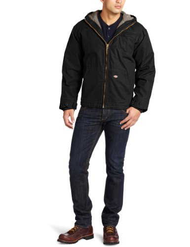 Dickies Men's Big-Tall Sanded Sherpa Lined Hooded Jacket, Black, Large