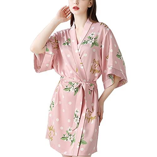 TBATM Batas De Kimono Cortas para Mujer, Batas De Seda De Satén Suave con Cuello En V Y Cinturón, Bata De Baño Ligera Y Lujosa para Bodas, Fiestas En La Playa, Cumpleaños,Rosado,S