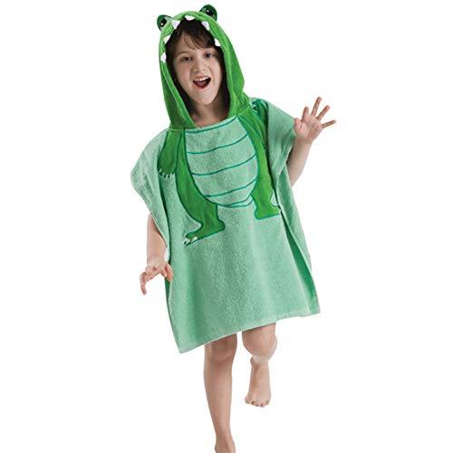Garçons Fille Serviette à Capuchon 100% Coton Les Enfants Peignoirs Plage Nager L'heure du Bain Poncho,Mignonne Animal Brodé, 60x120cm (24x47inch),Green