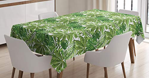 ABAKUHAUS Hoja de Palma Mantele, Selva follaje de Eco, Resistente al Agua Apto Uso Exterior e Interior No Destiñen, 140 x 200 cm, Green Olive Green White