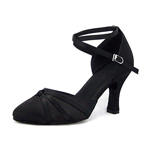 SUKUTU Mujer Moda de Malla de salón de Baile Latino Tango Zapatos de señora Suave Suela de tacón Alto de Baile Zapatos SU014 (39 EU, Tacón Negro-8.3 cm)