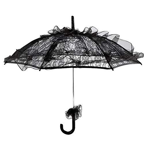 Paraguas de encaje de color negro para mujer, decoración de fiesta, baile o fotografía