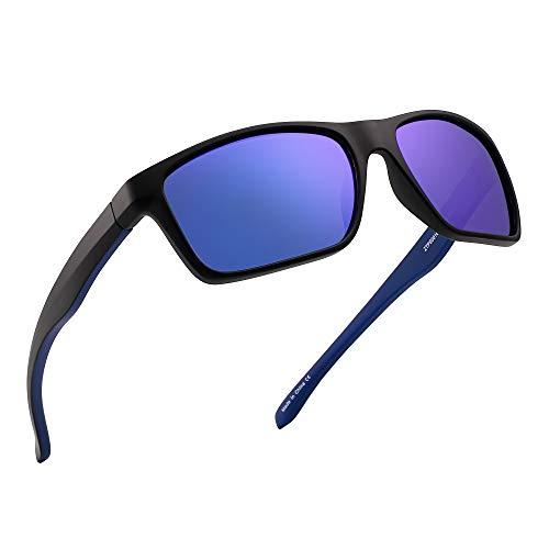 JIM HALO Polarizadas Deportivas Gafas de Sol de Espejo Wrap Alrededor Conducir Pescar Hombre Mujer(Negro/Azul Espejo)