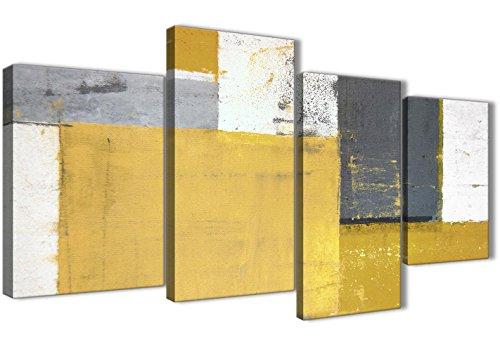 Lienzos decorativos para pared de 130 cm de ancho, diseño en color amarillo, gris, mostaza, 4 piezas, Wallfillers, 4340