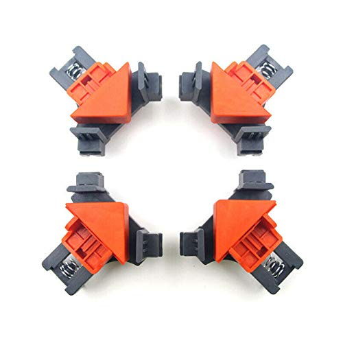 RJRK Multifunction 90°Right Angle Clip Clamp Corner Holder Woodworking Hand Tool,for Picture Frames Boxes Cabinets Drawers Carpenter 4Pcs