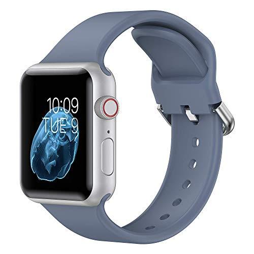 Glebo Sportarmbänder Kompatibel mit Apple Watch Armbands 38mm 40mm für Damen Herren,Weich Silicone Ersatzarmbänder für iWatch Series 6 5 4 3 2 1 SE, Blau Grau/Klein