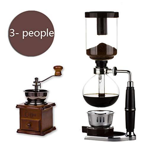 DAETNG Glas 3-5-Cup Kaffee Siphon Tabletop Balance Siphon (Siphon) Schwerkraft Kaffeemaschine und Spiritusbrenner mit Holz Vintage Style Hand Mühle Kaffeebohne Spice,C