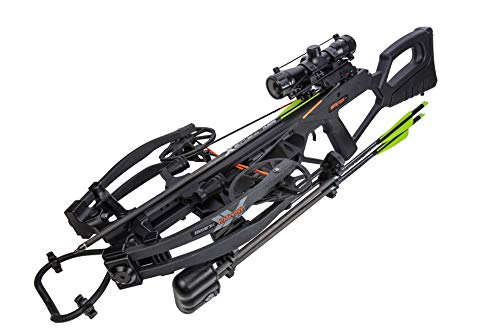 Bear X Intense CD Ready to Shoot Crossbow Package with Scope, Quiver, Bolts, Cocking Rope, and Wax, Stoke Finish, Black