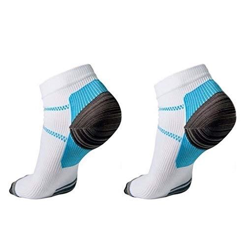 A0127 1 par de calcetines cortos para fascitis plantar de compresión de corte bajo para soporte de arco, atlético, gimnasio, deporte, correr, transpirables. W Talla única