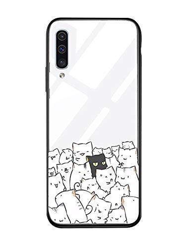 Alsoar Carcasa de repuesto para Galaxy A40, carcasa transparente, marco de silicona, funda transparente con tapa, cristal templado, diseño de animales, dulce para Samsung Galaxy A40 (Cat)