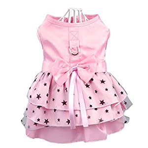 Hdwk&Hped Dog Dress with Leash Ring, Princess Multi-Layer Pleated Skirt Pentagram Bow Pet Dress for Small Dog Puppy Cat Pink #3