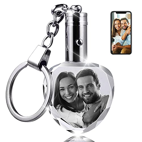 Custom Crystal Photo Keychain Gifts - Personalized Lighted Key Chains with Photo Engraved for Men, Women and Pet