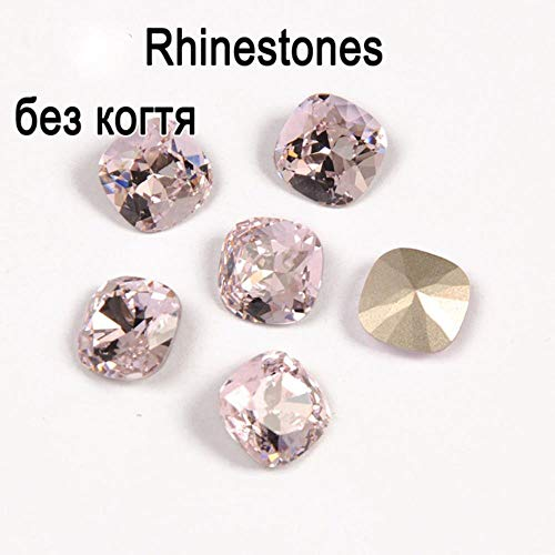 PENVEAT 4470 Strass Cushion Cut Light Rose Point Back Glass Rhinestone Coser en Point Back Chaton para joyería Pendiente Decoración de Prendas de Vestir, Diamantes de imitación Sueltos, 10mm-1