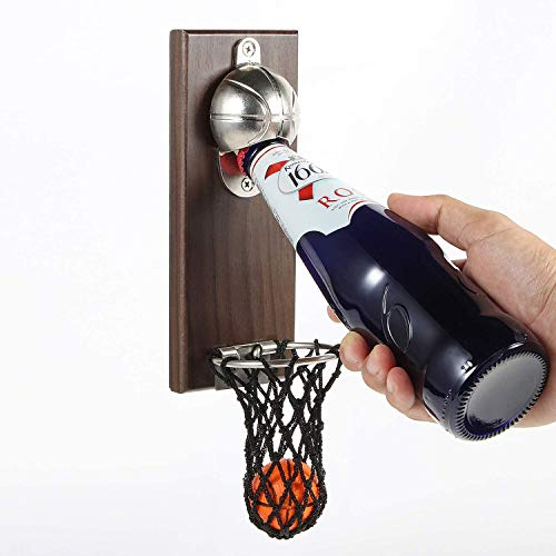 Undereave Wall Mounted Bottle Opener Gifts for Dad or Boy Novelty Basketball Beer Opener with Magnetic Board