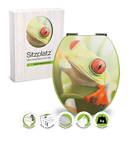 SITZPLATZ® WC-Sitz mit Absenkautomatik, Tier Dekor 3-D Frosch, Toilettensitz mit Holz-Kern & Fast-Fix Schnellbefestigung, Standard O-Form universal, Metallscharniere, Toilettendeckel, 40181 4