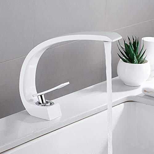 Waschtischarmatur Badarmatur für Waschbecken Weiße Mischbatterie Einhebelmischer für Bad Toilette Warmes und Kaltes Wasser