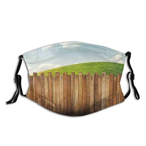 Fillter Face Cloth for Adults,Wooden Garden Fence On Grassland Pastoral Environment with Cloudy Sky,Cold Mouth Dustproof Double Protection