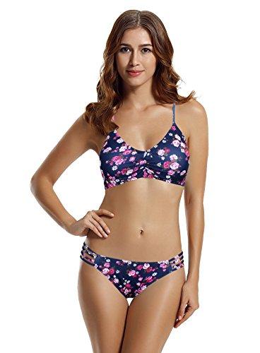 zeraca Women's Strap Side Bottom Halter Racerback Bikini Bathing Suits (FBA) (XL18, 26 Floral)
