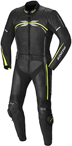 IXS Lederkombi mit Protektoren Motorradkombi 2 Teiler Kombi Camaro 2-TLG. schwarz/grau/gelb 48, Herren, Sportler, Ganzjährig, Leder