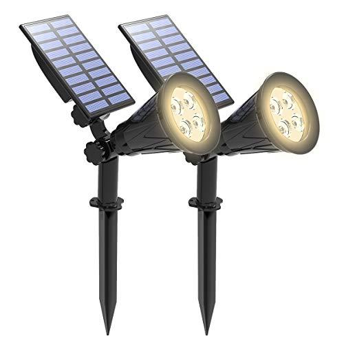 Faretti solari, T-SUNRISE 4 LED luce solare, luce di sicurezza auto-on/off IP65 luce da giardino impermeabile per alberi, patio, cortile, strada privata, piscina (2 Pack Bianco naturale 4000K)