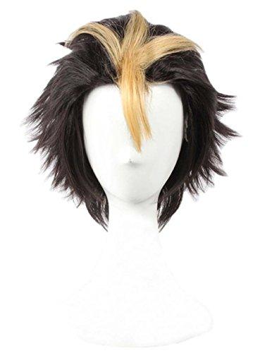 etruke court Anime Cheveux Noir Jaune Naruto Cosplay Perruques