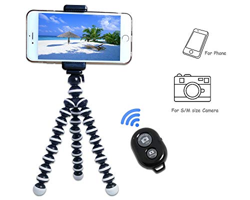 Kingneed Portable Flexible Cell Phone Octopus Tripod Phone Holder Selfie Tripod with Wireless Bluetooth Remote Shutter/Extendable Mount Holder for Universal Cell Phone/Small Camera (Medium)
