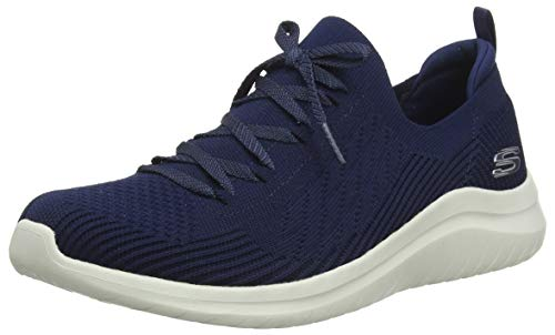 Skechers Ultra Flex 2.0-flash Illusion Sneaker Damen, Blau (Navy Knit Mesh/Off White Trim Nvy), 40 EU