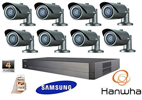 SAMSUNGKIT62: Samsung Hanwa 4MP CCTV Kit 1080P 8 Canales Red IP NVR PoE Bullet Security
