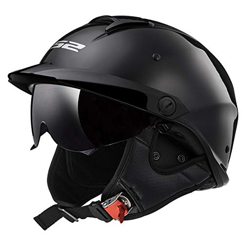 LS2 Helmets Rebellion Motorcycle Half Helmet (Matte Black - Large)
