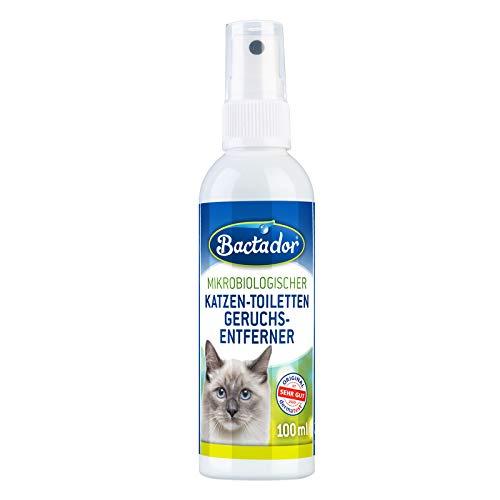 Bactador Katzentoiletten Geruchsentferner Spray 100ml - Gegen Katzenurin und Tiergerüche - Mikrobiologischer Enzymreiniger - 100% natürlich - Porentiefe Reinigung in der Katzenumgebung